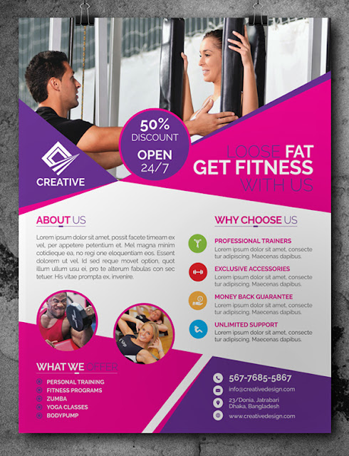 free fitness gym flyer template psd freebies psd. Black Bedroom Furniture Sets. Home Design Ideas