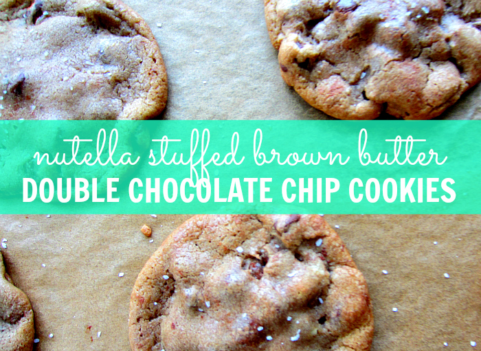 stuffed cookies, nutella and sea salt, best chocolate chip cookie