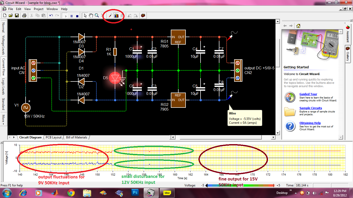 Horizon Of Electronics 2012 Circuit Wizard Is A Easy Program To Draw Your Electronic Circuits On Now Its Time Analyse The Working We Can See Variation Current Flow In Animation Here Ve 5v Indicated By Blue Colour