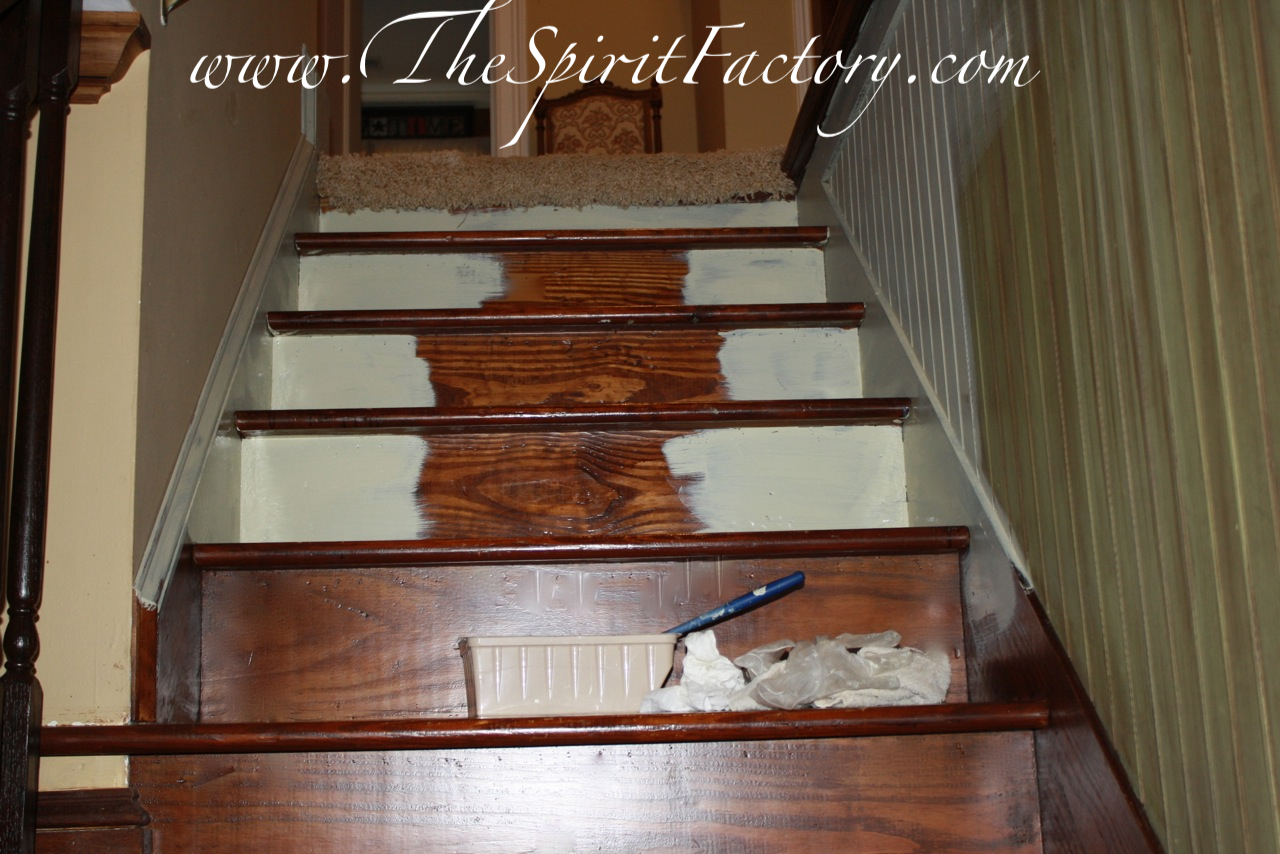 Wood Looking Paint Stairway Gets A New Look With Paint Runner A Blissful Spirit