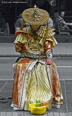 Chinese street entertainer in the Rambles Barcelona