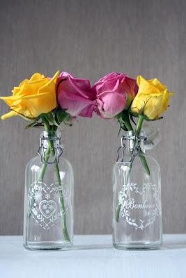 5 Flores em garrafas...!