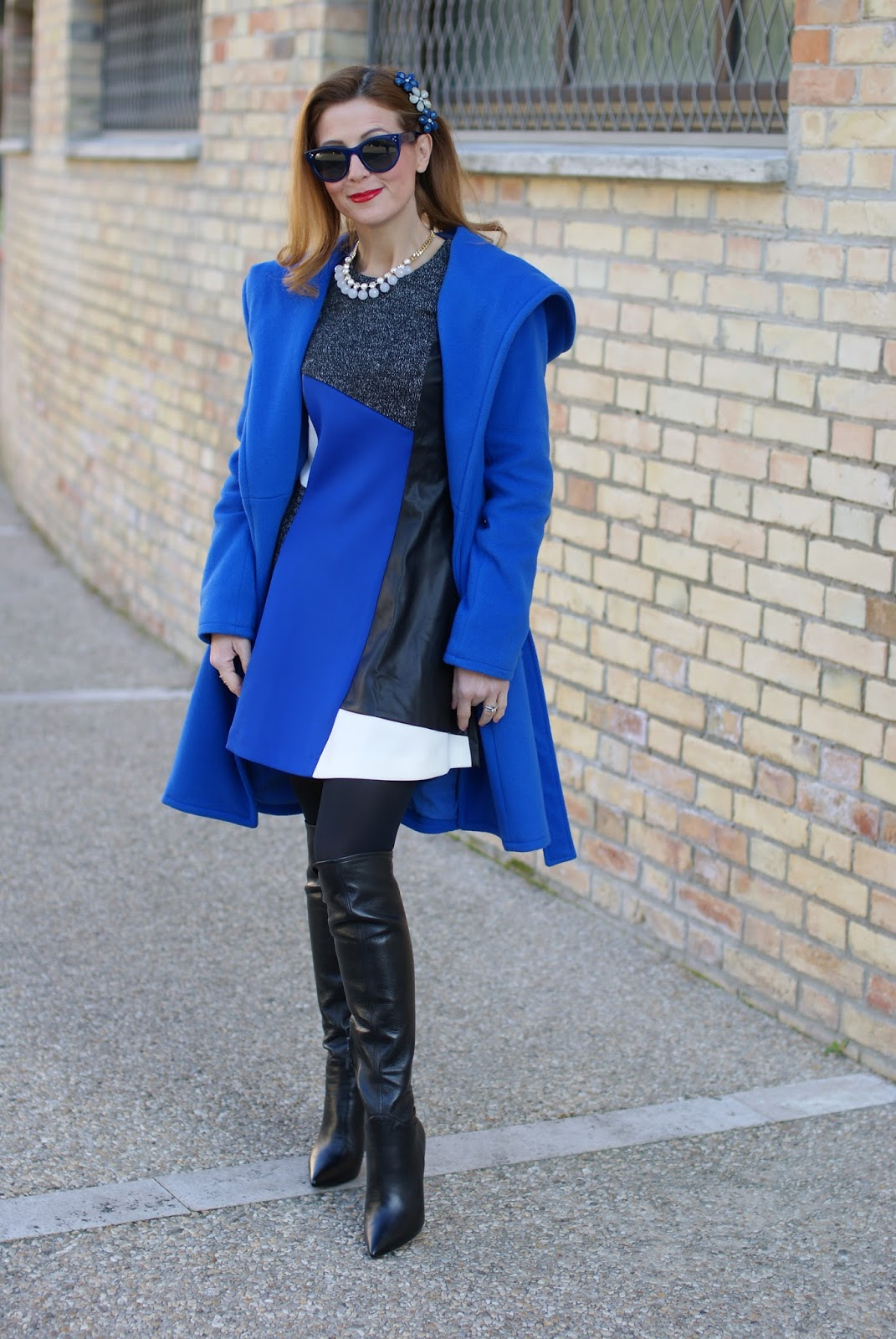 Wrap hooded coat, frontrowshop shift dress and over the knee boots on Fashion and Cookies fashion blog, fashion blogger style