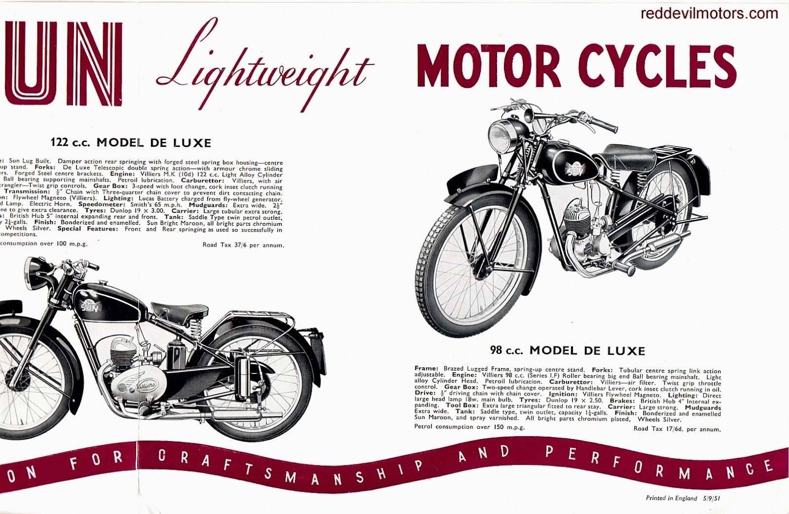 Vincent motorcycle brochure 1952 front cover - 1952 Sun Motorcycles Brochure Centre Spread Pt 2