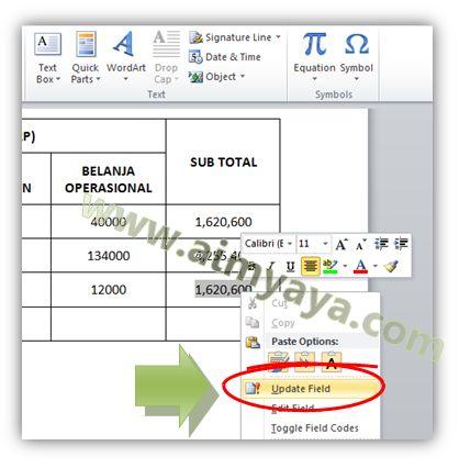 Gambar: Copy/paste formula dan update nilai hasil penjumlahan