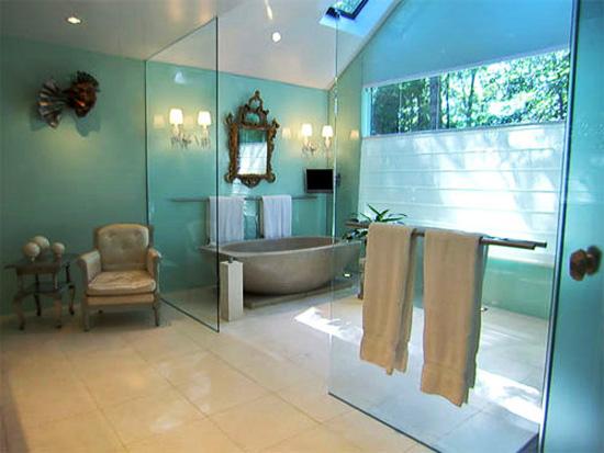 Salle de bain pour les idées bleu et marron ~ Design Interieur France