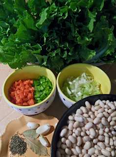 Escarole, Chopped Carrots & Celery, Onion, Garlic, Thyme, Bay Leaves, and Soaked White Beans