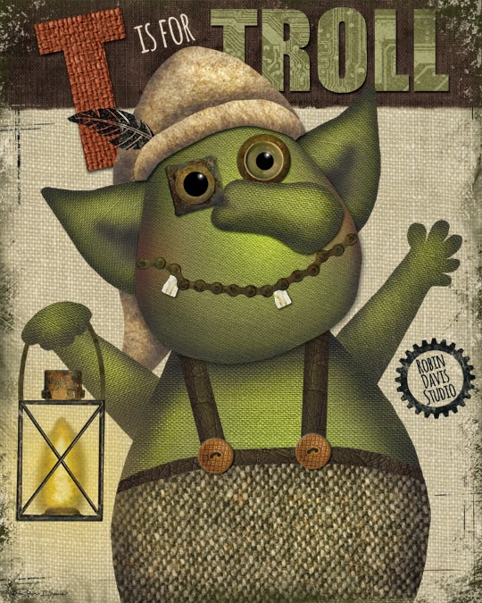 Troll painting - T is for Troll - Robin Davis Studio