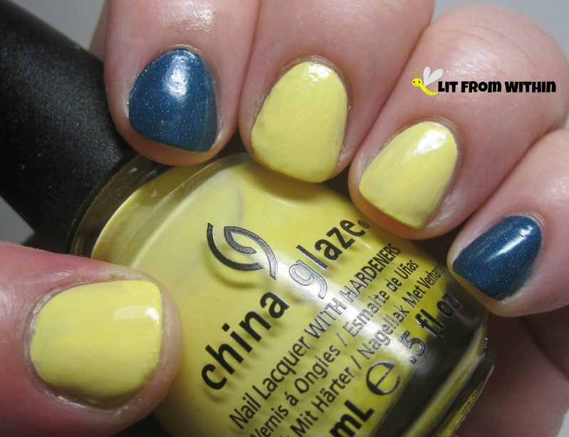 gorgeous blue from Above The Curve, called Suspense, and China Glaze Lemon Fizz, a surprisingly nice pale butter yellow