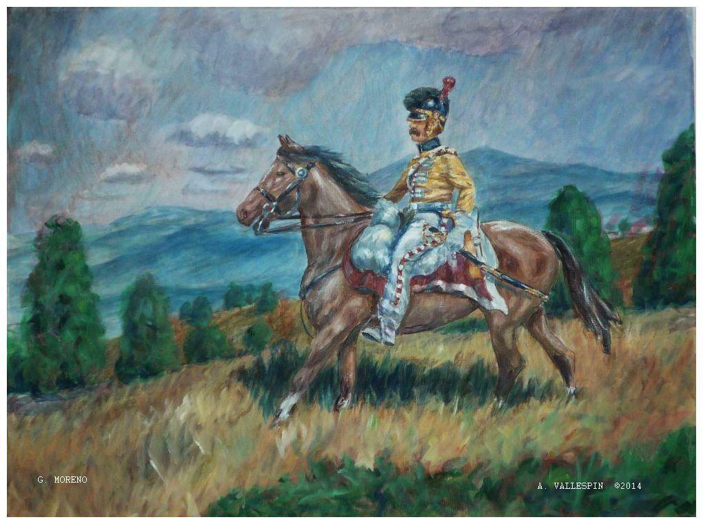 Dragón a caballo - soldado español - oleo sobre tabla - pintura