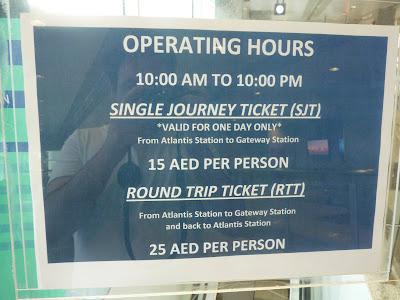 horario del monorail de Dubai