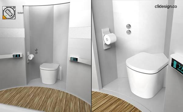 Baño modular cúbico sector con inodoro toilet