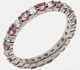 Pink Sapphire & Diamond Platinum Eternity Band