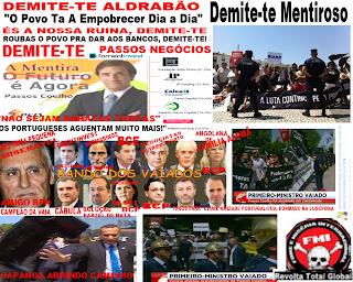 """primeiro-ministro, o angolano Pedro Passos Coelho, foi ontem recebido com justos protestos, vaias e assobios dos manifestantes que impacientemente o aguardavam junto à câmara municipal de Cantanhede, onde os agentes locais do """"governo dos bancos"""", os que se governam de Portugal, recorrendo ás velhas técnicas de persuação levaram a fanfarra dos bombeiros locais a ter de fazer o frete de actuar"""
