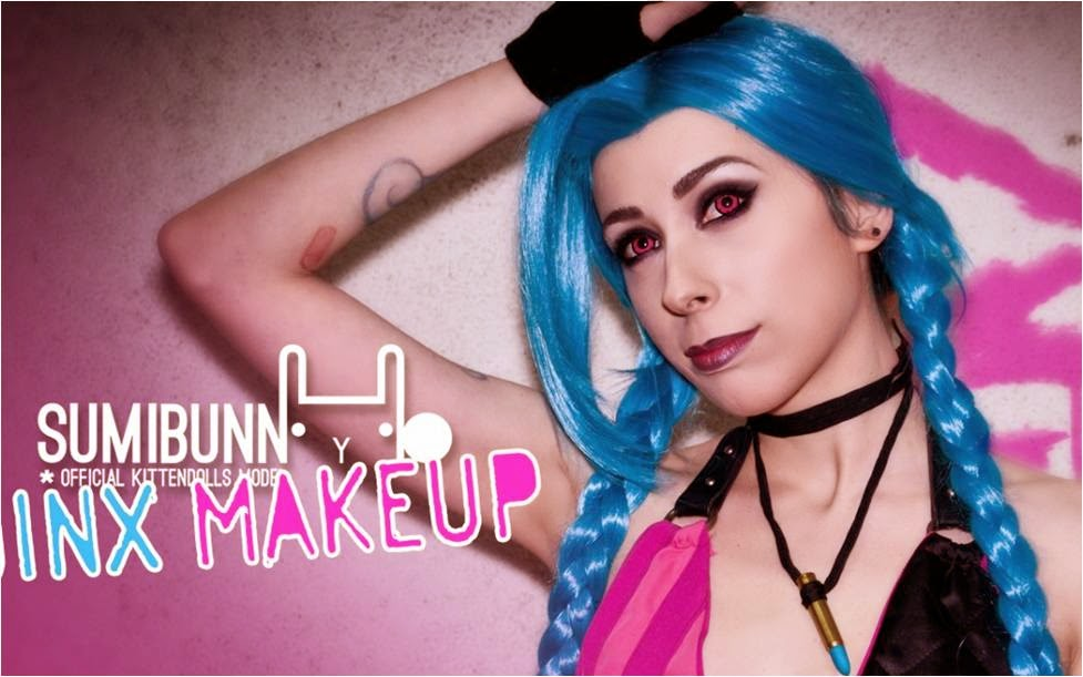 Jinx Cosplay Makeup, dolly eye twilight pink colored contacts