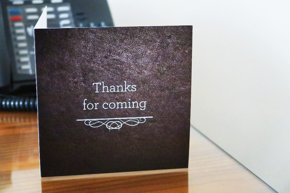 Thank you card at Malmaison Leeds