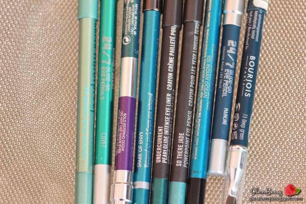 Bourjois - Clubbing Waterproof - 44 Golden Grey Session: סדרת הקלאבינג של בורז'ואה היא אחת האהובות עליי מכל! מדובר בסדרה עמידה למים לחלוטין, שורדת ימים שלמים בלי לזוז, הצבעים בוהקים ופיגמנטיים - ובדרך כלל במבצעים ניתן לקנות את העפרונות של בורז'ואה ממש במחירים משתלמים.   הגוון Golden Grey Session - אינו אפור ואינו זהוב. מדובר בטורקיז ירקרק בהיר זוהר, מקסים ביותר בקו המים התחתון. מומלץ בחום!     Urban Decay 24/7 Glide On EyePencil - Covet - למרות שהוא נראה זוהר ומטאלי באריזה, מדובר בעפרון סולידי יחסית בצבע הנוטה יותר לירוק. כמו כל העפרונות של אורבן דיקיי, מדובר במוצר איכותי ועמיד עד מאוד.  את העפרונות של אורבן דיקיי ניתן לרכוש במחיר של 13 פאונד באתר HQHAIR - לא תמיד יש את כל הצבעים במלאי, כדאי להתעדכן.  Kiko Double Glam - 102 - אוצר קטן שמצאתי בביקור האחרון שלי לפריז. מדובר בעפרון דו צדדי שהוא דיופ מדוייק ונטול אכזריות ל-2 העפרונות האהובים עליי בתבל של מאק - UnderCurrent ו- Designer Purple. מעולה ומומלץ בחום רב!  Tarina Tarantino - Spark Of Envy - עפרון מהסדרה המצויינת של Tarina, שניתן היה לרכוש בספורה. עפרונות חמאתיים, פיגמנטיים ומצויינים! הצבע הוא טורקיז עשיר ובוהק.  MAC Pearlglide Undercurrent - כנראה העפרון האהוב עליי בעולם כולו. עפרון מהסדרה המצויינת pearlglide, שעליה עוד יורחב בהמשך - צבעים חמאתיים, פיגמנטיים, מיוחדים ומוצלחים ביותר. הצבע של UNDERCURRENT נדיר ואין שני לו - ירוק כהה עז שזור בנצנוץ זהוב. פיגמנטי בטירוף במשיכה הראשונה, נהדר ואהוב על מאוד! עמיד ביותר. יש לי 2 ממנו פלוס הדיופ של קיקו. לא רוצה שיגמר לעולם.  Mac So There Jane - עפרון טורקיזי מרומז ועדין, בעל עמידות בינונית. אהוב עליי בקו הריסים התחתון.  GA-DE Metallic - Indian Ocean 105 - עפרון מהסדרה החדשה יחסית של ג'ייד, מטאלי ובעל פיגמנט מצויין. עמיד ביותר. צבע טורקיז קלאסי ובוהק, משדרג כל איפור!   Urban Decay 24/7 Glide On EyePencil - Mainline - עפרון טורקיז כהה במרקם מאט. עמיד ומעודן. מאוד מתוחכם, אני משתמשת בו בתיחום קו ריסים עליון. Bourjois Smoky Effet - Deep Green