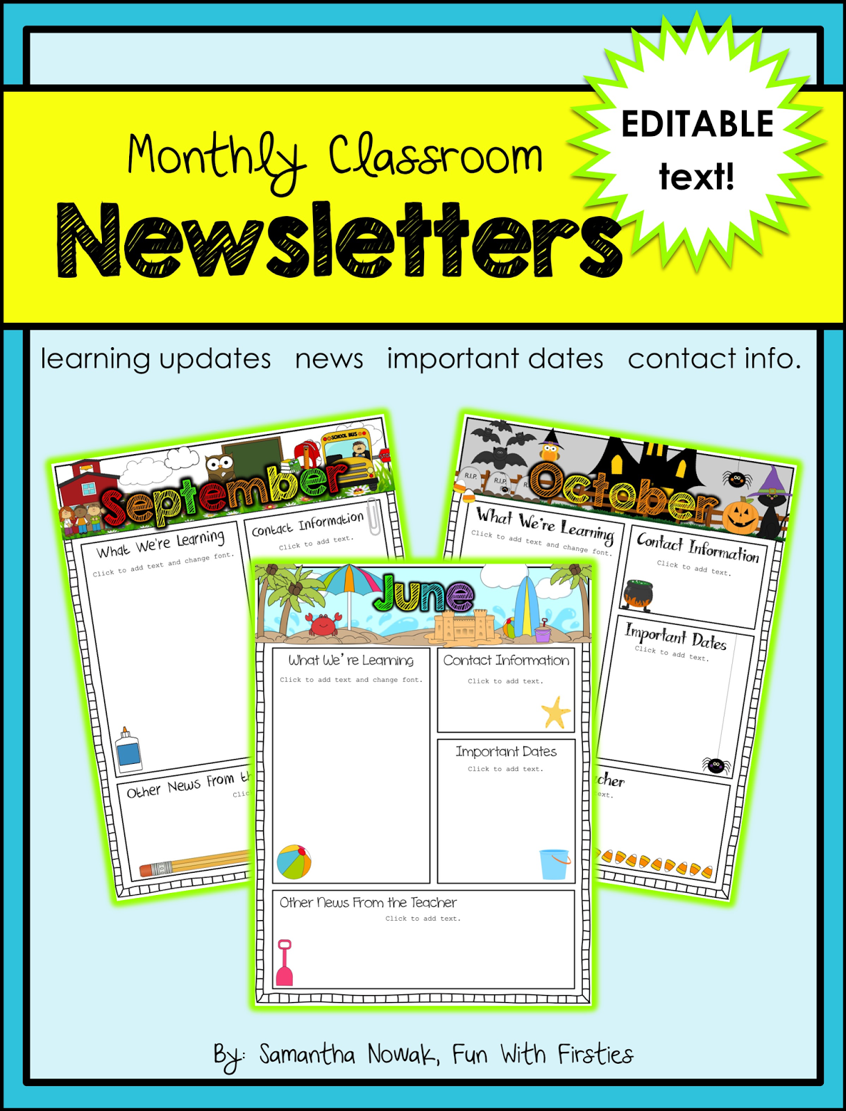 Fun with firsties best of back to school for Free editable newsletter templates