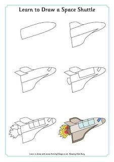 Cara Menggambar Pesawat Luar Angkasa