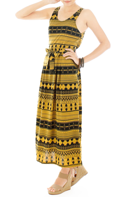 Lost Tribal Maxi Dress - Yellow