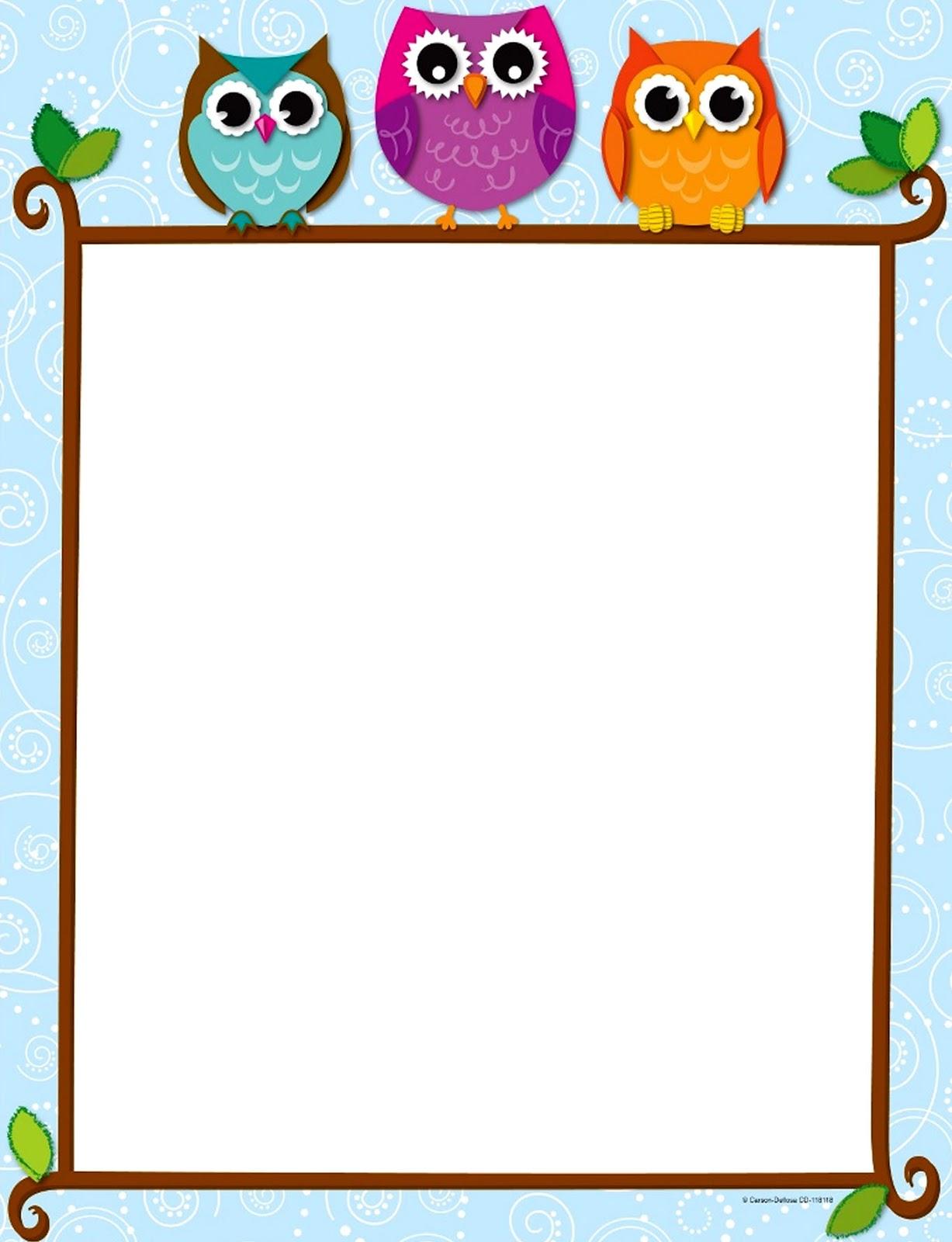 Classroom Design Paper : Bordes decorativos de hojas búhos