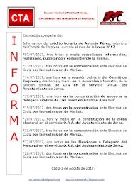 C.T.A. INFORMA CRÉDITO HORARIO ANTONIO PÉREZ, JULIO 2017