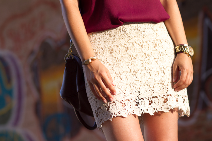 CROCHET SKIRT WITH GOLD ORNAMENT