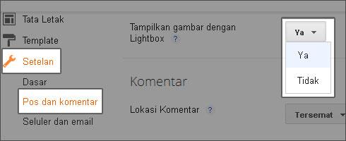 Non Aktifkan Lightbox