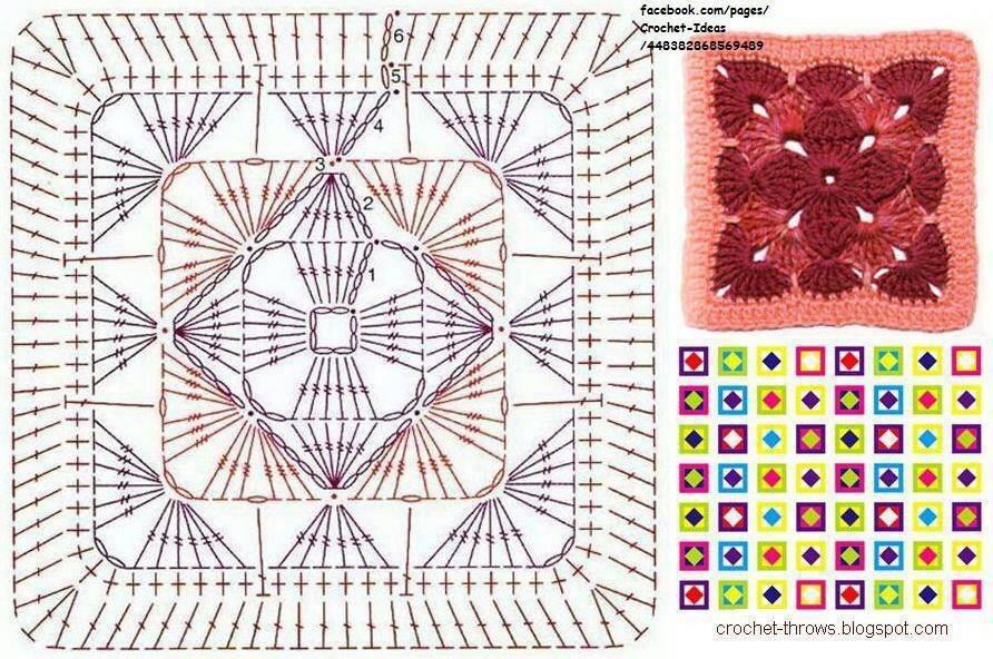 Плед крючком из квадратов схемы и