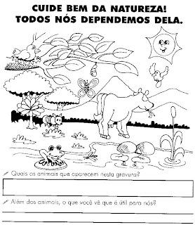 ATIVIDADES SOBRE MEIO AMBIENTE PARA 1º E 2º ANOS. ANIMAIS, PLANTAS, SOLO, ÁGUA E AR