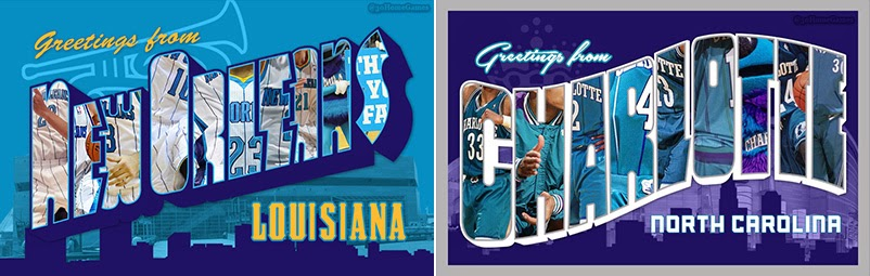 30 home games nba postcards greetings from charlotte north new orleans and charlotte hornets edition find these variants at the 30 home games facebook page m4hsunfo