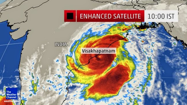 Cyclone hudhud Satelite picture repesentation images