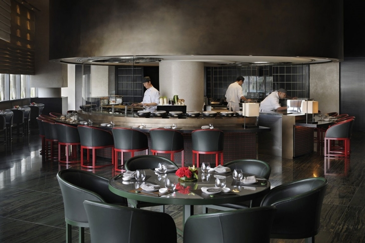 Dark kitchen in Armani Burj Khalifa Hotel Dubai
