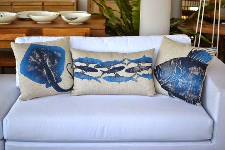 Almohadones para decorar con animales marinos en crudo y - Almohadones para decorar sillones ...