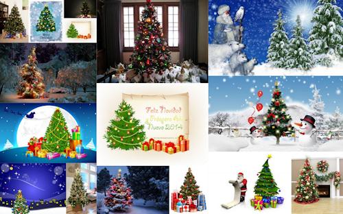 Pinos de Navidad con luces, esferas, regalos y mensajes