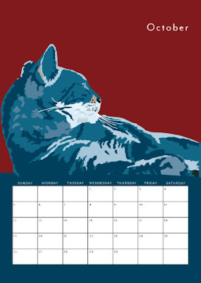 2014 calendar with cats - showing October