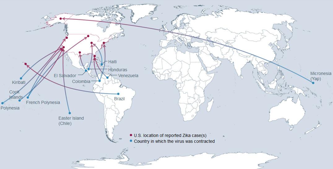 Zika Virus Threatens US From Abroad Vivid Maps - Us zika map