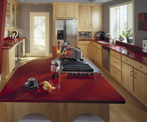 Delorme designs seeing red red countertops for Photos de cuisines