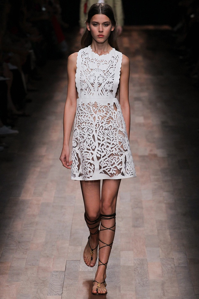Valentino 2015 SS White Perforated Leather Dress on Runway