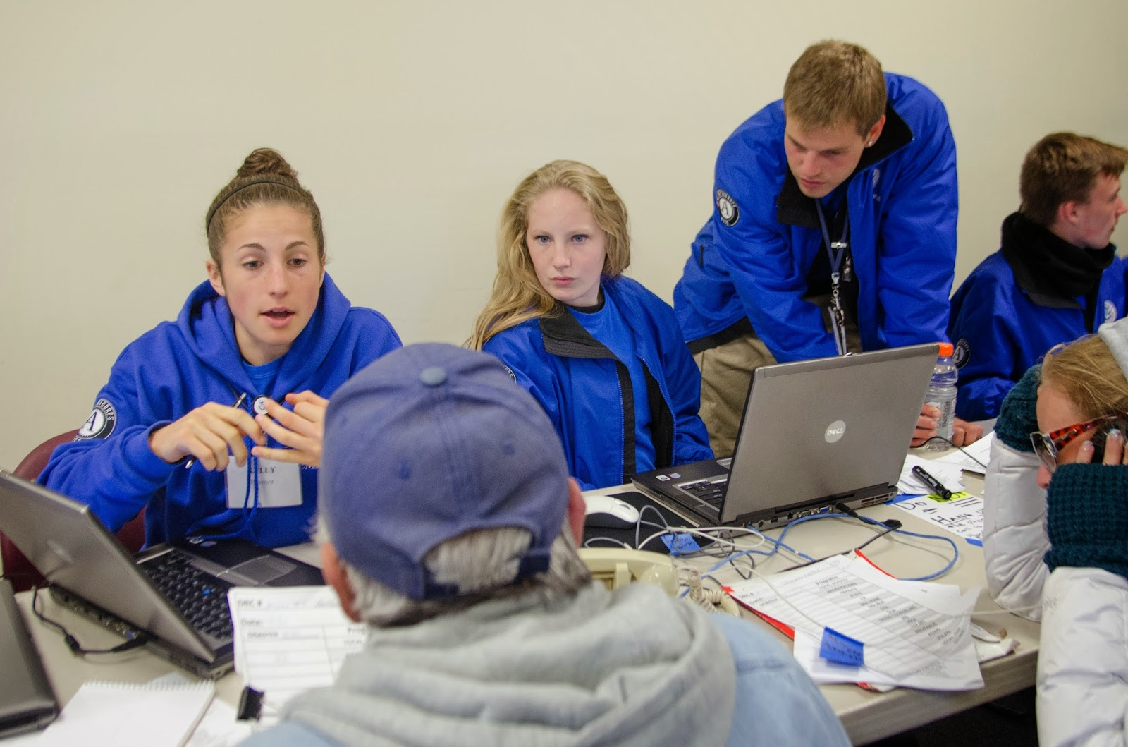 FEMA Corps members register survivors after Hurricane Sandy at a Disaster Recovery Center in New Jersey
