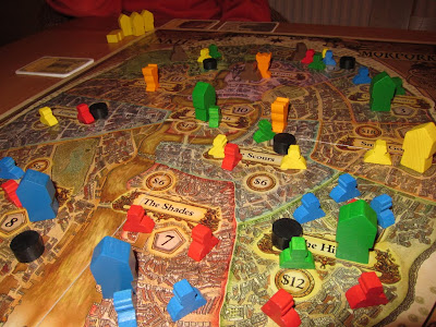 Discworld: Ankh-Morpork - The game board late in the game