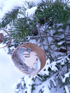 Rustic Birch Bark Tree Ornament