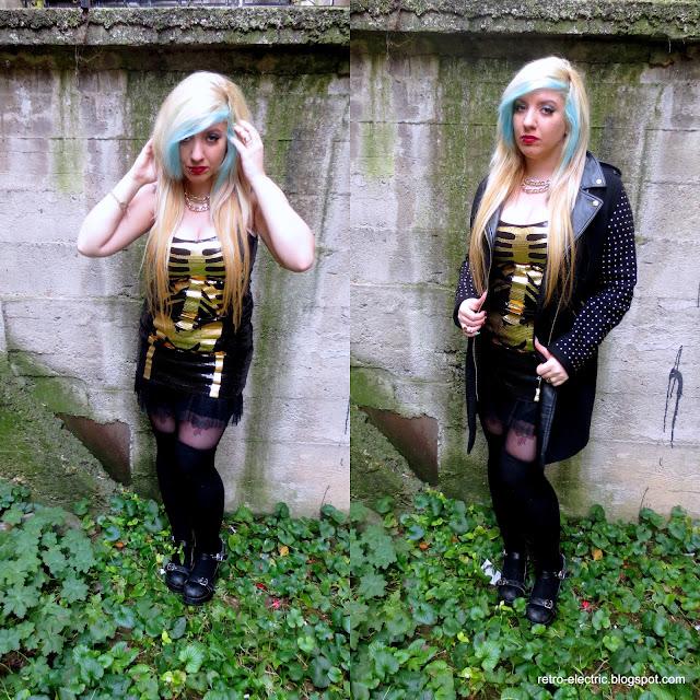 emo girl skeleton dress halloween goth