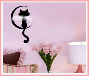 Cat Moon Wall Decal