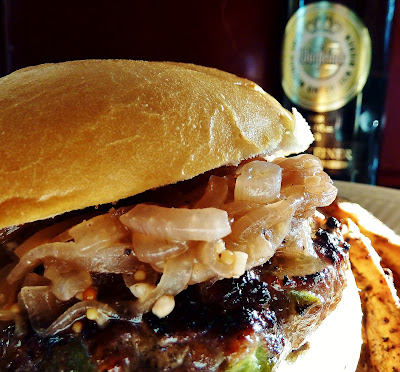 Brat Burgers with Drunken Onions