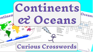 graphic about Printable Continents and Oceans named Curious Crosswords: Continents and Oceans Absolutely free Printable
