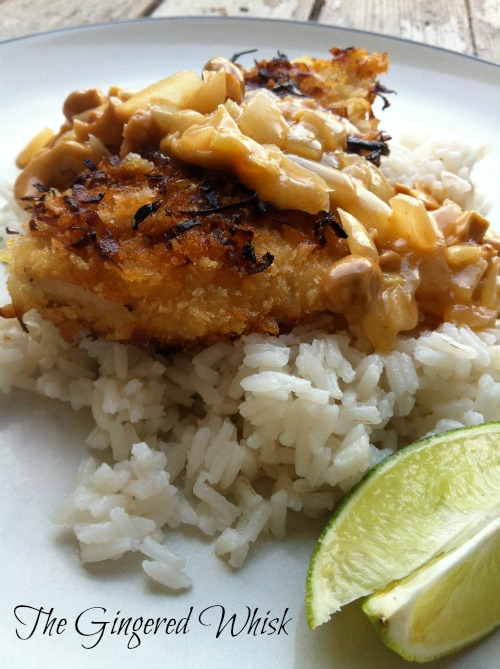 Coconut Crusted Chicken with Cashew Curry Sauce - The Gingered Whisk