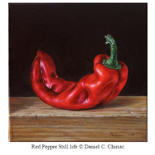 still life, realism fine art oil painting red pepper
