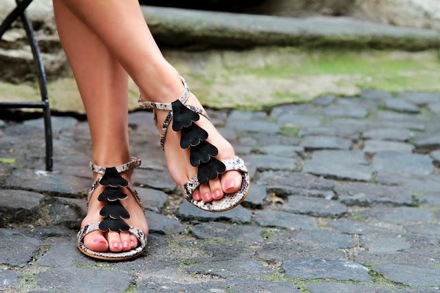 Florus snakeskin print sandal