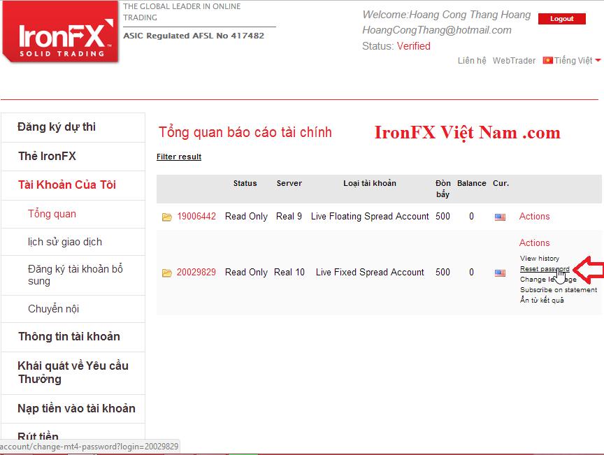 Cách lấy lại mật khẩu MT4 IronFX